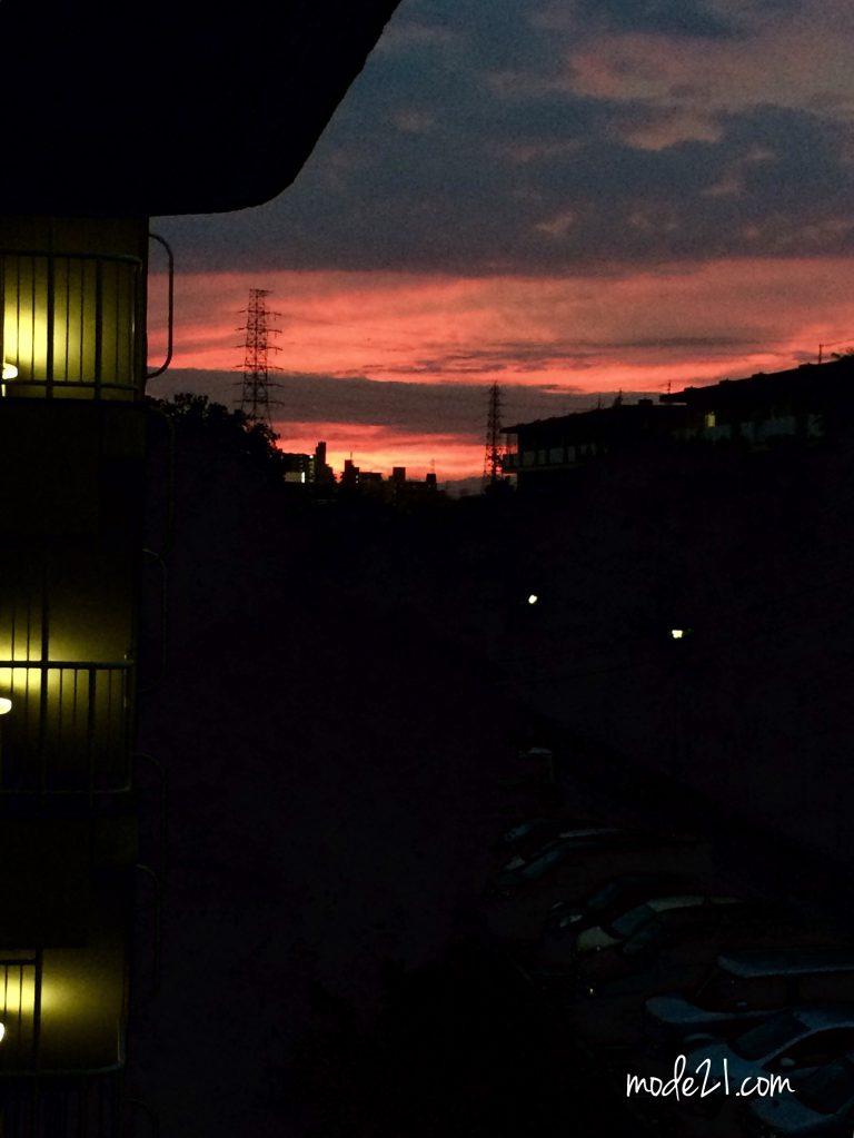 偶然マンションから撮れた綺麗な夕焼け