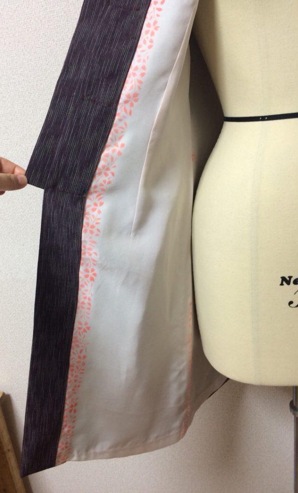 着物地のチャイナ服の裏地はなるべく正絹の長襦袢で作りたいと思います。