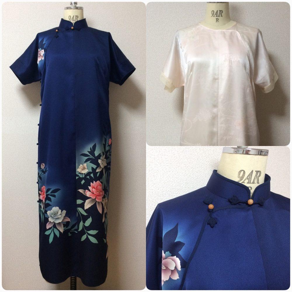 正絹の付け下げの反物で旗袍を作って、正絹の長襦袢の反物でアンダードレスを作りました。
