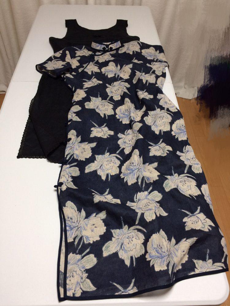 ダーツなしの平連袖旗袍