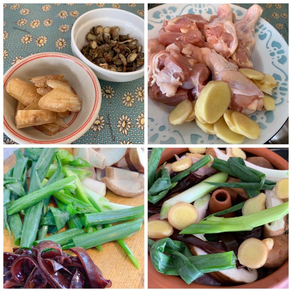 薬膳汽鍋鶏の材料
