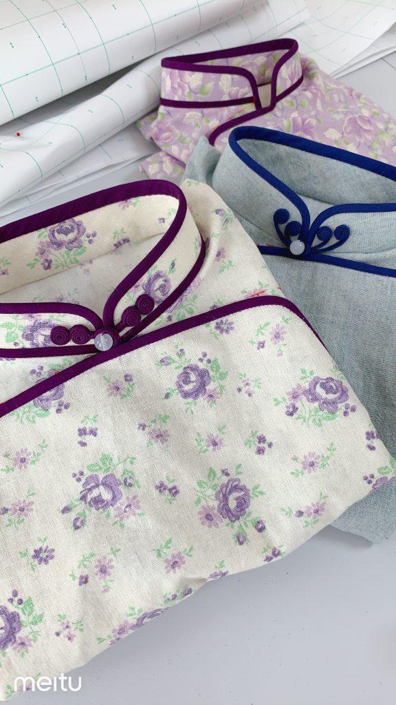 新作旗袍-綿麻生地。