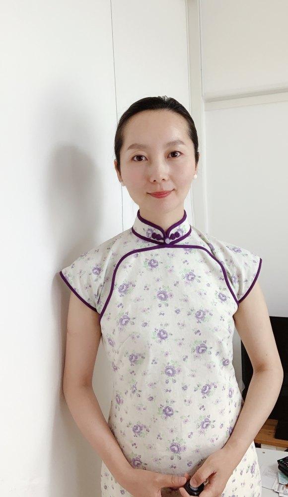 綿麻の平連袖旗袍