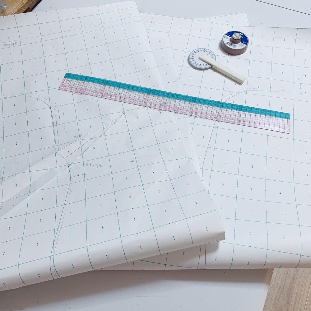 Mサイズの型紙をLサイズへグレーディング