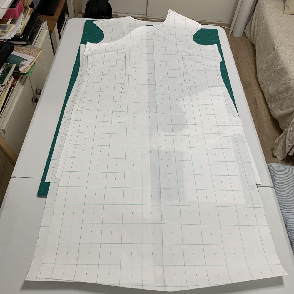縫い代付きのチャイナドレスの型紙を完成
